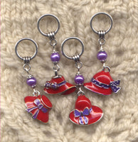 Red Hatters Matter Knitting Stitch Markers Red Hat Society Set of 4/SM350