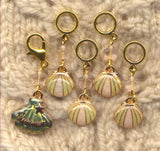 Seashells Knitting Stitch Markers Dreaming of the Sea Shells Set of 5/SM351