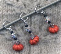 Cinderella's Pumpkin Knitting Stitch Markers Enameled  Set of 3/SM354 Limited Edition!