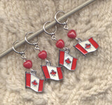 Canada Flag Knitting Stitch Markers Enameled Canadian Canuck Set of 4 /SM38A