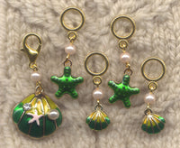 Emerald Seas Knitting Stitch Markers Dreaming of the Sea Set of 5/SM410