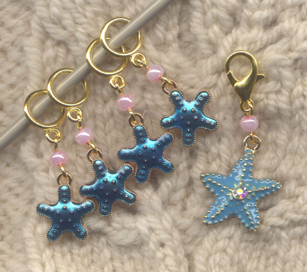 Tropical Starfish Knitting Stitch Markers Dreaming of the Sea Set of 5/SM417