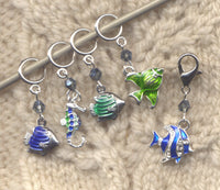 Swim With The Fishes Knitting Stitch Markers Dreaming of the Sea Set of 5/SM421
