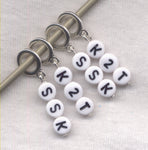 Decrease Stitch Marker Set Knitting Instructions Abreviations White Set of 4 /SM55