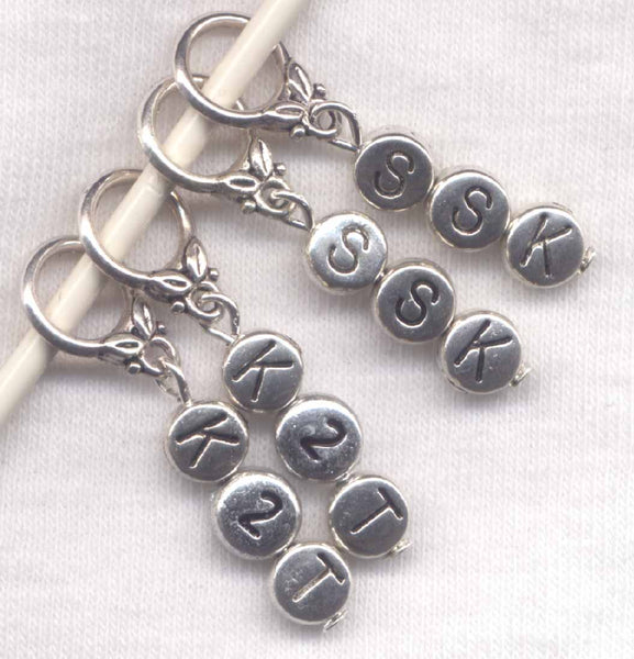 Decrease Stitch Marker Set Knitting Instructions Abreviations Silver Set of 4 /SM55C