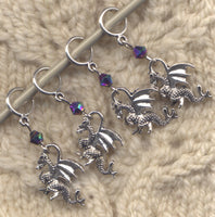 Dragon Knitting Stitch Markers 3-D silver Mythical Creatures Set of 4 /SM59