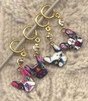 Sugar Skull Dogs Knitting Stitch Markers Dios de la Muertos Pugs Bulldogs Set of 4 /SM68