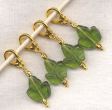 Leaves Knitting Stitch Markers Green Glass Leaf Set of 4/SM70C