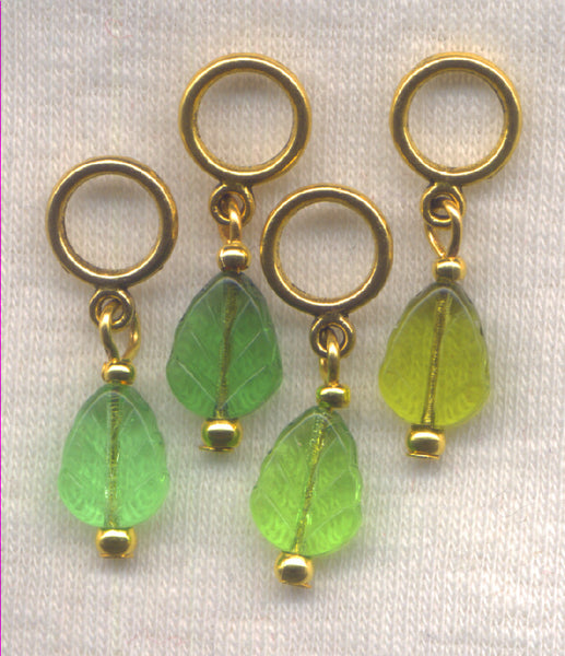 Leaves Knitting Stitch Markers Pressed Glass Leaf Set of 4/SM70D