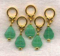 Green Leaves Knitting Stitch Markers Pressed Glass Leaf Set of 5/SM70E