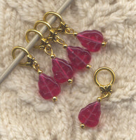 Red Fall Leaves Knitting Stitch Markers Pressed Glass Leaf Set of 5/SM70F