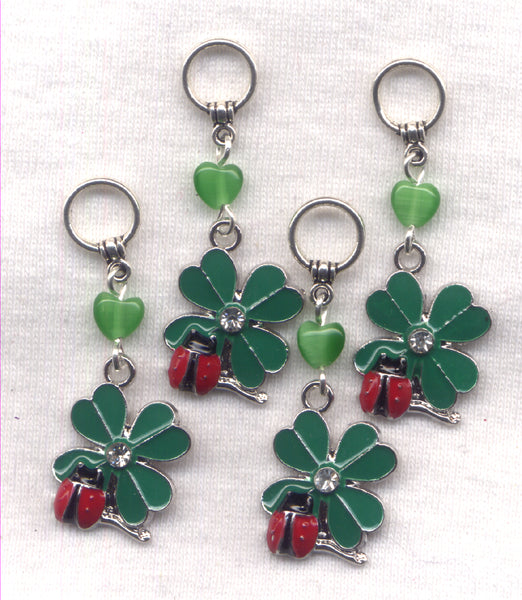 Lucky Ladybug 4 Leaf Clover Knitting Stitch MarkersSet of 4 /SM71