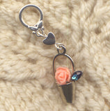 Pink Rose Knitting Stitch Marker Flower Pot Single/SM80C