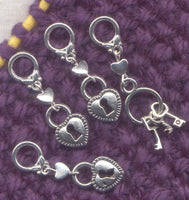 Lock and Keys Knitting Stitch Markers silver finish Set of 4/SM198