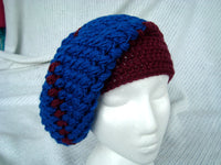 "Cloche Hat Blue and Burgundy ""Puffy"" Slouch Hat Fun to Wear Easy Care CT0004"