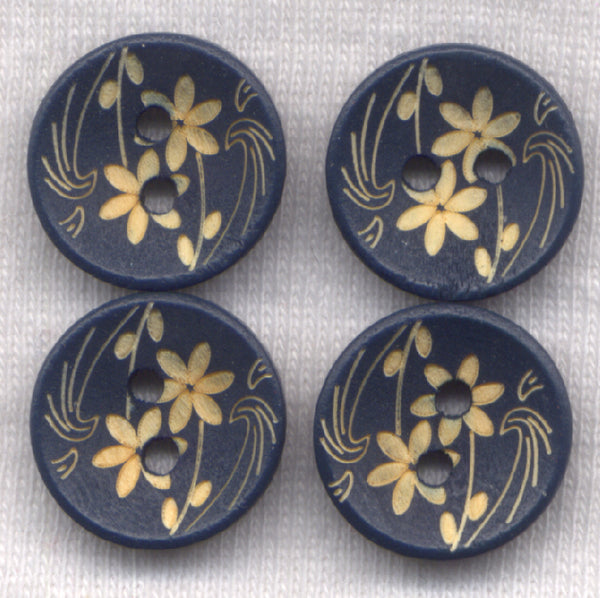 Navy Blue Flower Buttons Decorated Floral Wooden 15mm (5/8 inch) Set of 12 /BT450