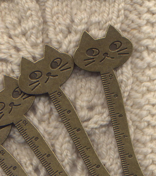 Cute Cat Metric Ruler Bronze Brown metal compact sturdy