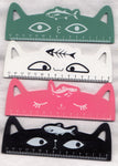Cute Cat Metric Ruler Wood Adorable Ears 4 Different Colours