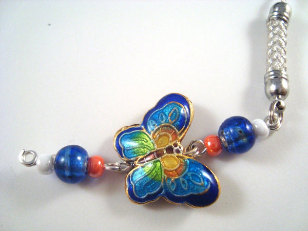 Blue Butterfly Cloisonne Cellphone cell phone charm CH001