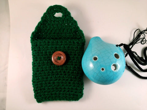 "Ocarina Pouch Forrest Green 6 Hole Pendant ""Alto C"" Holster OP008"