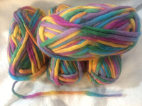 Bulky Knit 100% Wool Yarn colorway Fall Flowers 100 gm Ball BK05