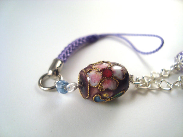 Purple Flower Cloisonne Cellphone Charm CH022