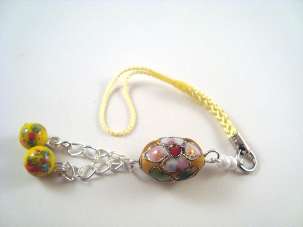 Yellow Flower Cloisonne Cellphone Charm CH024 Cell Phone charm