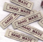 Handmade Labels Beige and Brown Woven Fabric 25/pkg