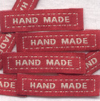 Handmade Labels Red Woven Fabric 25/bag
