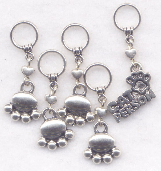 Cat Knitting Stitch Markers Paw Print Kitten Kitty Love My Cat Person Set of 5/SM145