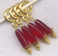 Ruby Red Drop Knitting Stitch Markers Czech Glass Drops Set of 4/SM241C