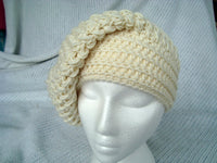 Slouch Hat White Puff Beannie Merino Wool Toque Cap Crocheted CT0018