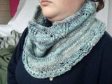 Cowl Smoke Ring Neck Warmer Unisex Cowl Hand Spun Green Blue Grey CP05