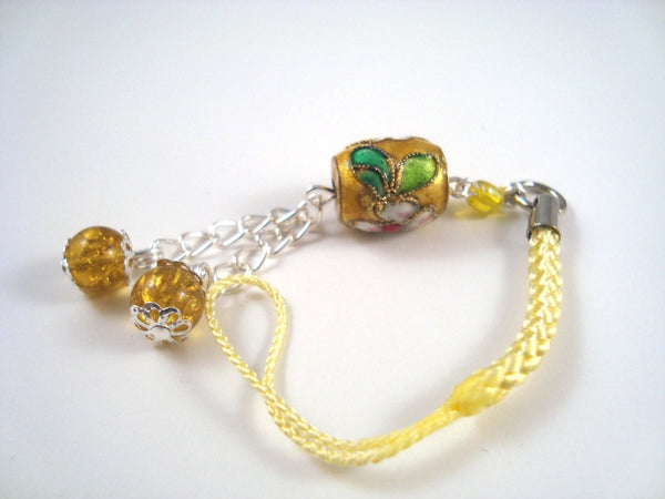 Yellow Flower Cloisonne Cell phone Charm CH023 lanyard charm