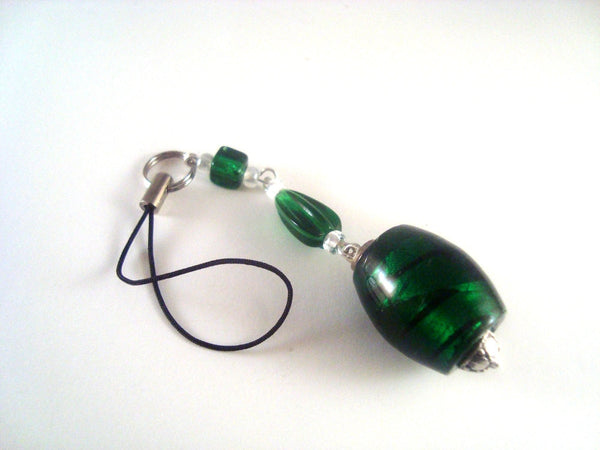 Dark Green Bead Cellphone Charm CH053 Cell phone Charm Large Green Silver mobile phone accessory