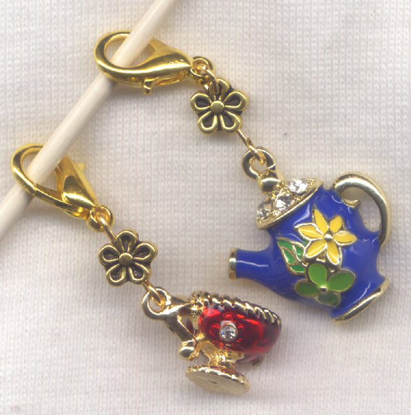 Teapot and Cup Stitch Marker Clip Blue Enameled Rhinestone Charm Pair /SM248D