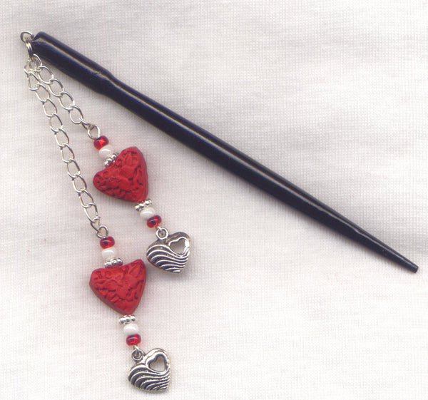 Red Cinnabar Hearts Shawl Pin Stick Elegant Black shaft each/HS17