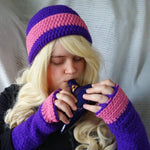 Cloche Hat and Fingerless Gloves Set Skate Boarder Beanie Bubblegum CT0010