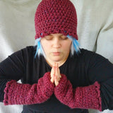 Cloche Hat and Fingerless Gloves Set Skate Boarder Beanie Red Long Gloves CT001