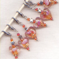 Amber Heart Stitch Marker Clip Lampwork Art Glass Single /SM201B