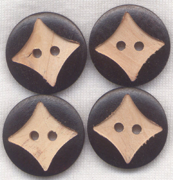 Chocolate Brown Buttons Star Classic Wooden Buttons 22mm (7/8 inch) Set of 8 /BT278