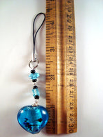 Light Blue Silver Bead Cellphone Charm CH062