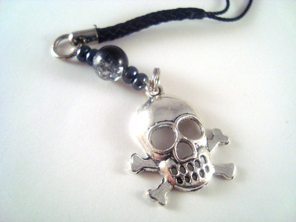 Silver Skull Cellphone Charm CH057