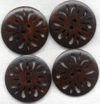 Lacy Buttons Cut Out Filigree Lace Dark Brown 30mm (1 1/4 inch) Set of 8 /BT252B