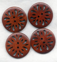 Lacy Buttons Cut Out Filigree Lace Rusty Brown 30mm (1 1/4 inch) Set of 8 /BT252C