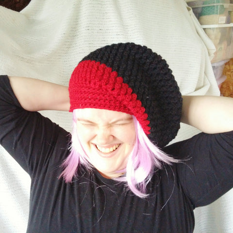 Slouch Hat Red Black Popcorn Beanie Wool Toque Cap  Beret Crocheted CT0013