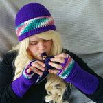 Cloche Hat and Fingerless Gloves Set Skate Boarder Beanie CT009