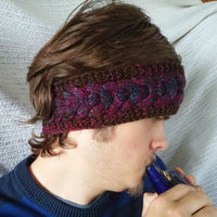 Headband Unisex Ear Warmer Hand Knit One Size Virgin Wool Burgundy Tweed Color CT0013