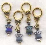 Owl Knitting Stitch Markers Semi Precious Hematite Set of 4 /SM47C