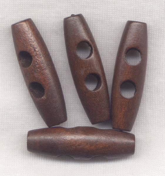 Chocolate Brown Wood Toggle Buttons Wooden Buttons 40mm (1 1/2 inch) Set of 8 /BT404